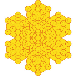 """13 Kreise mit weiteren 13 Kreisen verbunden oder die """"Frucht des Lebens"""" verbunden mit sich selbst"""