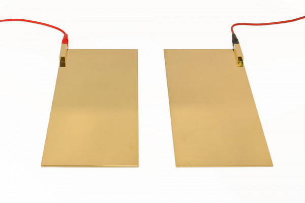 Weber-Isis® foot plates (gold-plated), incl. 2 cables