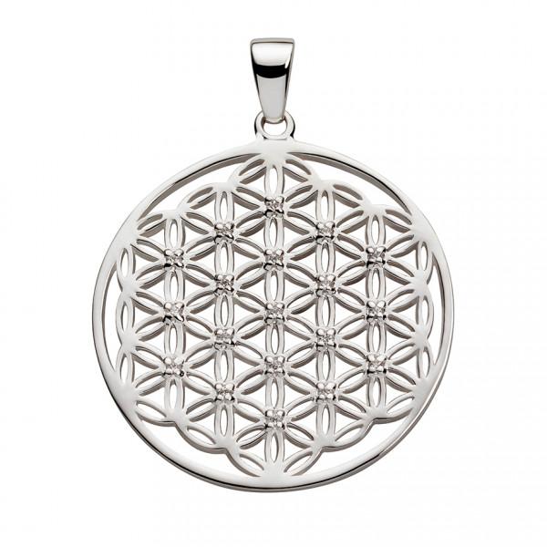 Anhänger Blume des Lebens Silber mit Zirkonia
