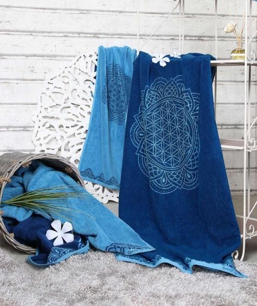 Handtuch Blume des Lebens OZEAN BLAU AZUR