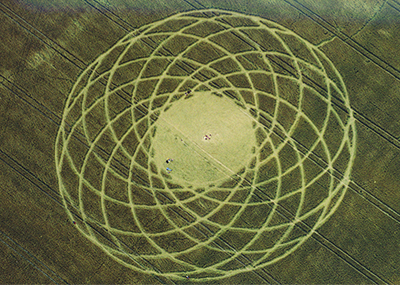 Crop circle on July 11, 1997 at Woodborough Hill, Wiltshire, England