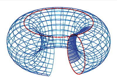 Graphic of a three-dimensional ring torus